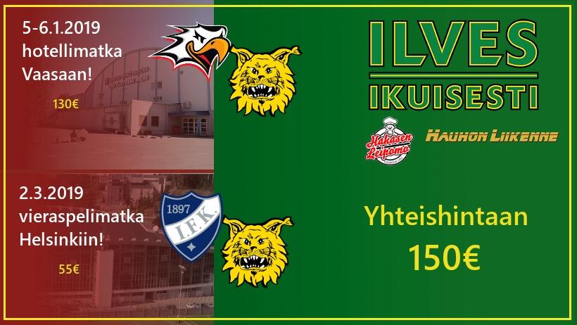 Helsinkiin Liiga-kauden viimeiseen HIFK-vieraspeliin 2.3.19
