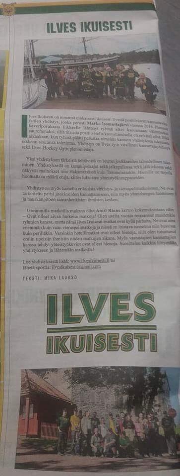 Ilves Ikuisesti ry esillä Ilves Murisee-lehdessä. 10/2018