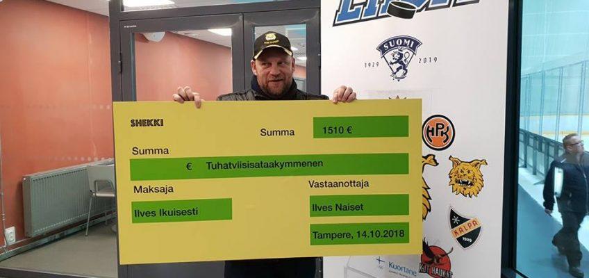 Ilves Ikuisesti ry lahjoitti Ilveksen naisten jääkiekkojoukkueelle yhdistyksen jäsenien avulla 1510,00 €